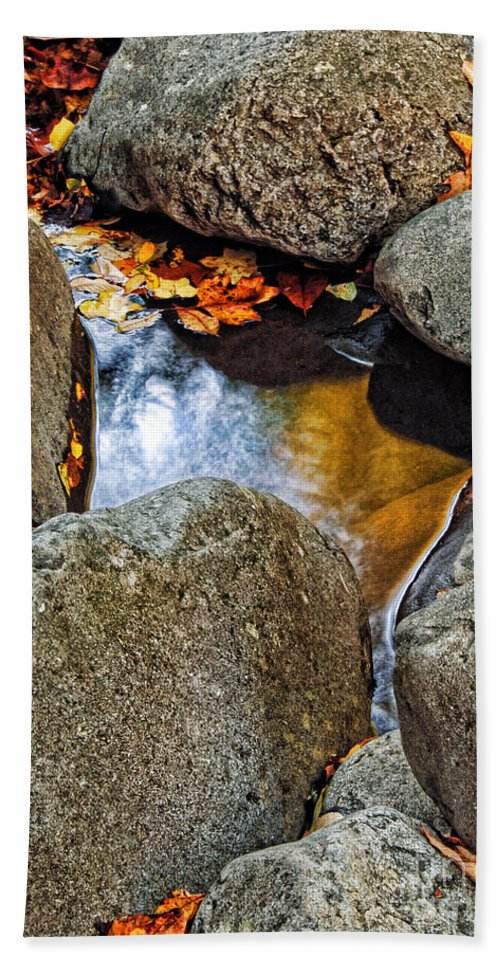 Water Bath Sheet featuring the photograph Autumn Colors Reflected In Pool Of Water by Jill Battaglia