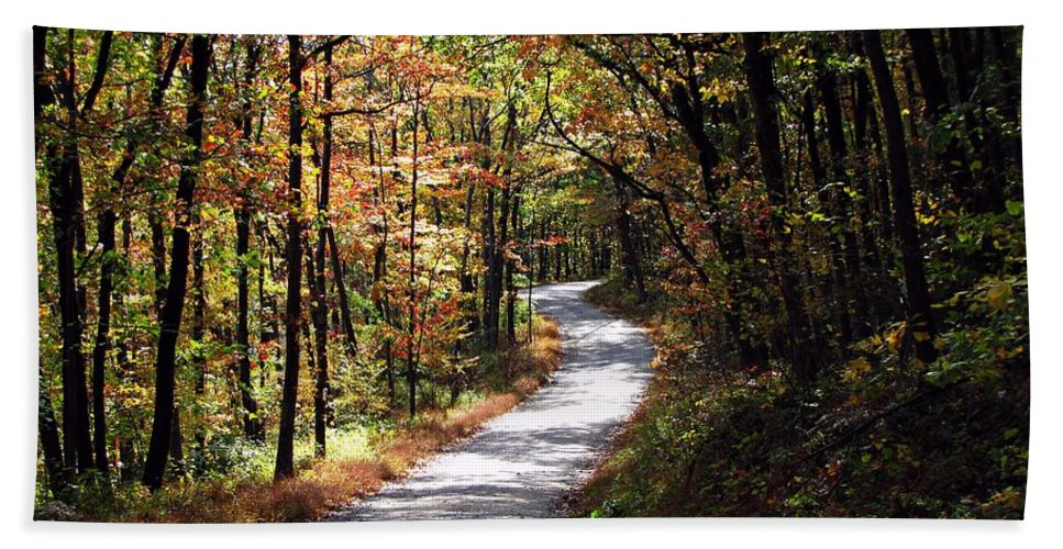 Autumn Hand Towel featuring the photograph Autumn Country Lane by David Dehner