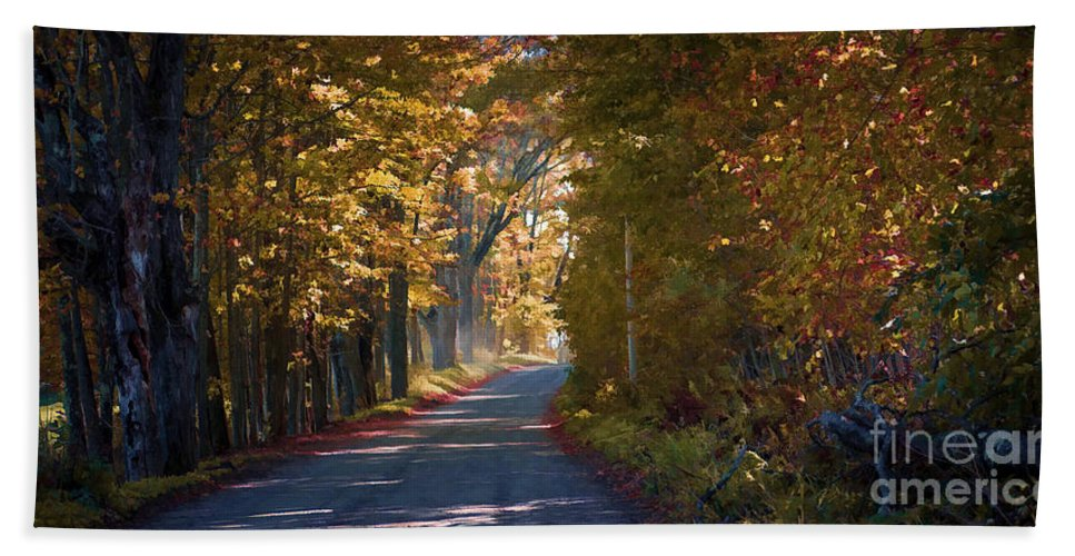 Autumn Hand Towel featuring the photograph Autumn Country Road - Oil by Edward Fielding