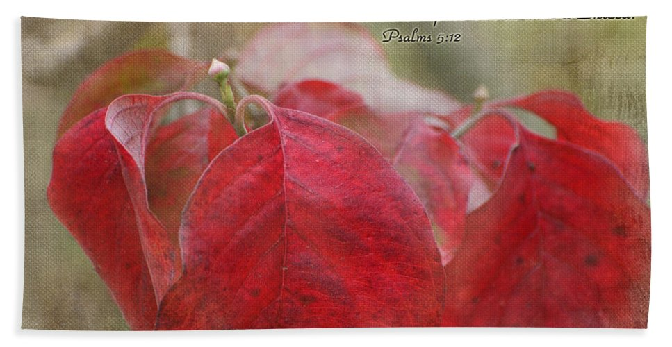 Nature Hand Towel featuring the photograph Autumn Dogwood Leaves With Verse by Debbie Portwood
