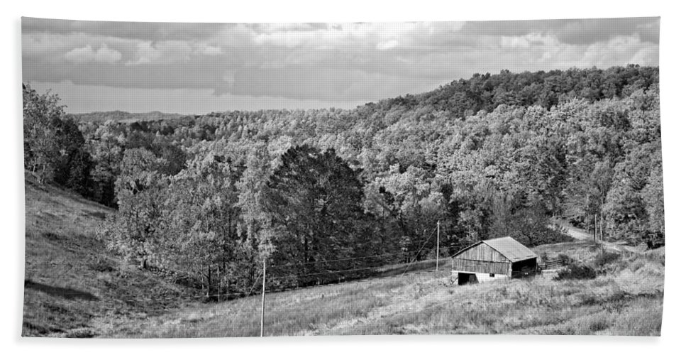 West Virginia Bath Sheet featuring the photograph Autumn Farm 2 Monochrome by Steve Harrington