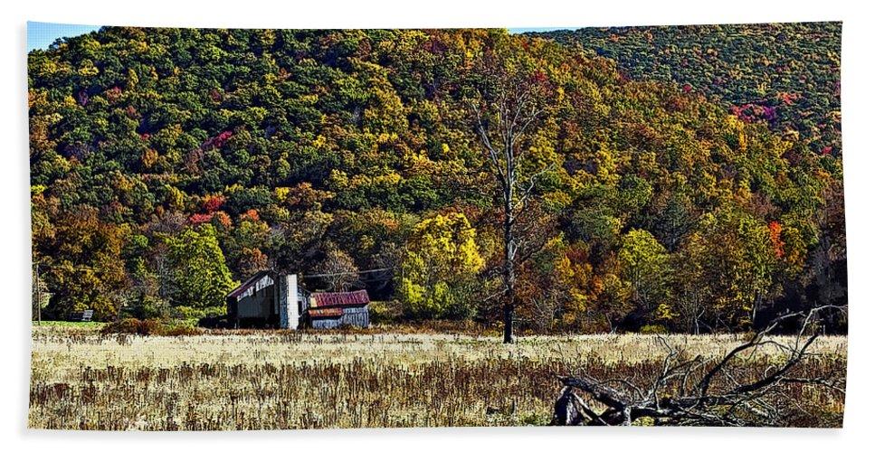 West Virginia Hand Towel featuring the photograph Autumn Farm Painted by Steve Harrington