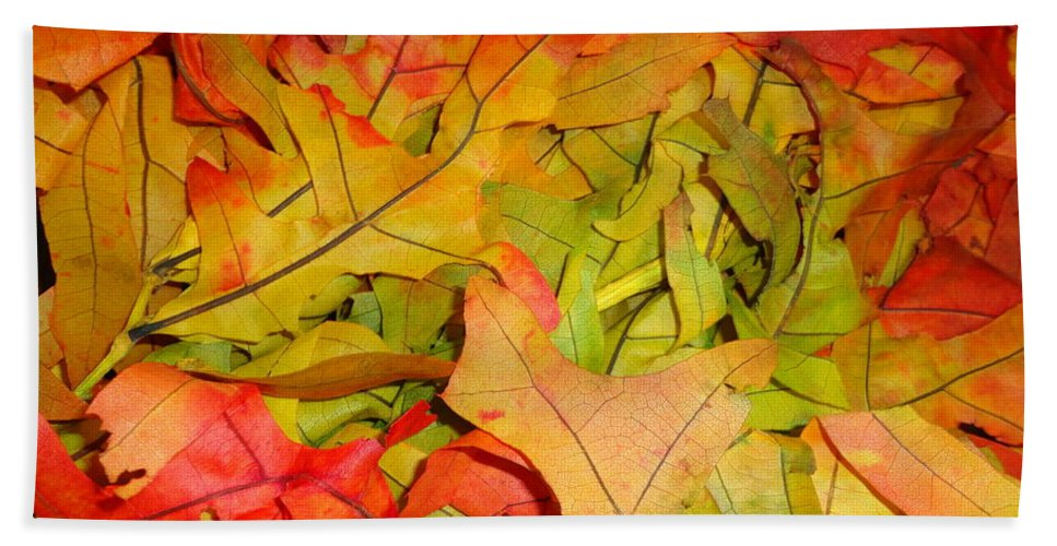 Leaves Hand Towel featuring the photograph Autumn Gathering by Maria Bonnier-Perez