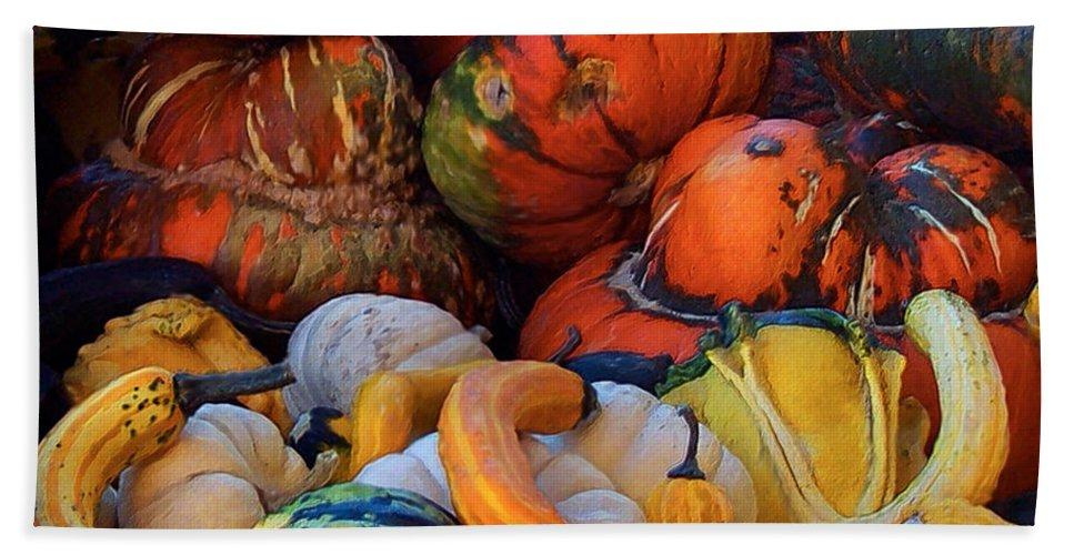 Autumn Art Hand Towel featuring the mixed media Autumn Harvest by Carol Cavalaris
