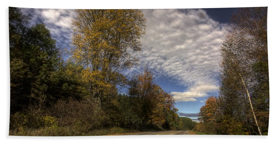 xdop Bath Sheet featuring the photograph Autumn Highway by John Herzog