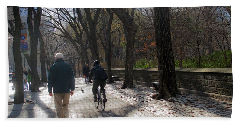 Central Park Bath Sheet featuring the photograph Autumn In New York 1 by Madeline Ellis