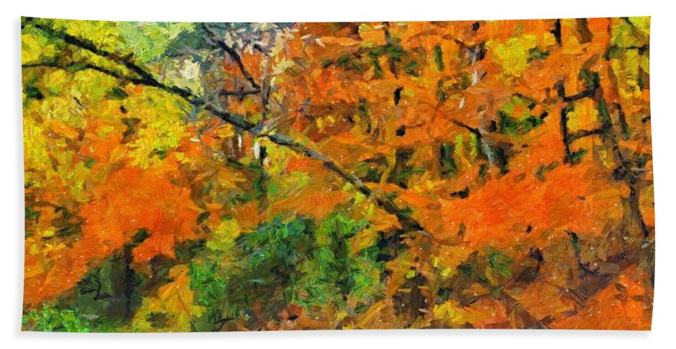 Autumn Hand Towel featuring the painting Autumn In The Forest by Dragica Micki Fortuna
