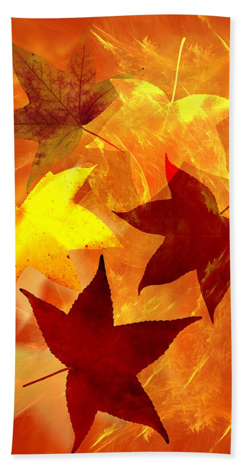 Abstract Hand Towel featuring the digital art Autumn Leaves by Carol and Mike Werner