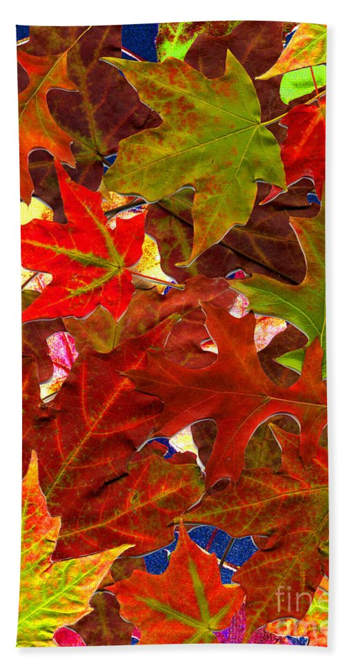 Leaves Bath Sheet featuring the photograph Autumn Leaves Collage by Nancy Mueller