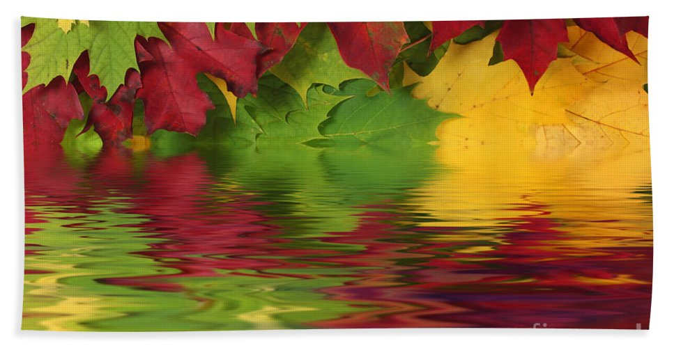 Leaves Hand Towel featuring the photograph Autumn Leaves In Water With Reflection by Simon Bratt Photography LRPS