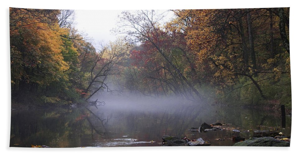 Autumn Morning On The Wissahickon Bath Sheet featuring the photograph Autumn Morning On The Wissahickon by Bill Cannon