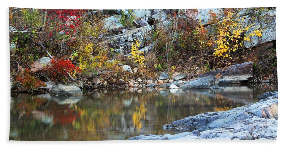 Autumn Hand Towel featuring the photograph Autumn On The Black River 1 by Greg Matchick