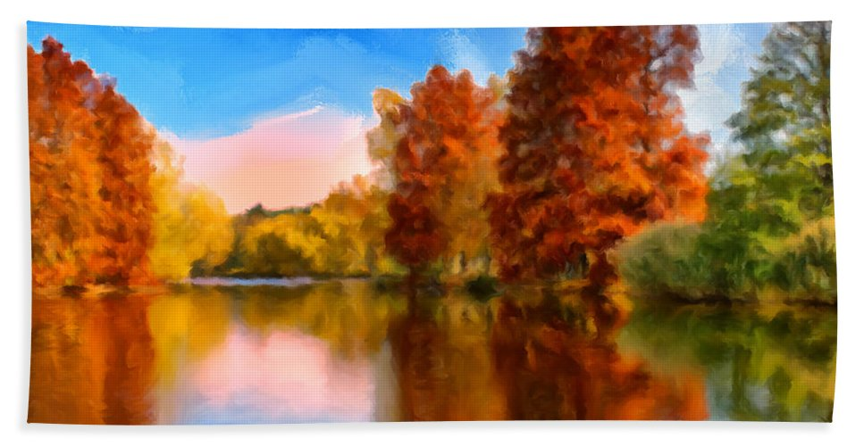Autumn Bath Towel featuring the painting Autumn On The Lake by Dominic Piperata