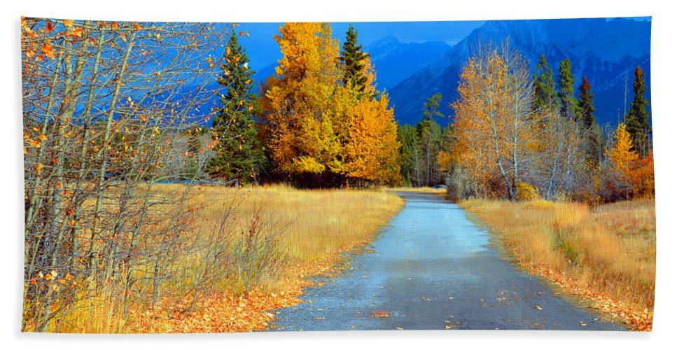 Canmore Hand Towel featuring the photograph Autumn Perspective by Tara Turner