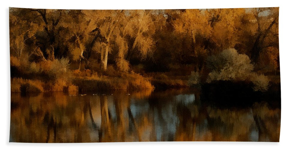 Autumn Hand Towel featuring the digital art Autumn Reflections Painterly by Ernie Echols