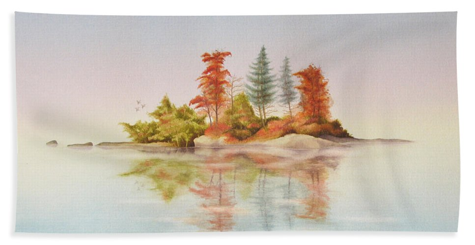 Autumn Bath Sheet featuring the painting Autumn Reflections by Robert Boast Cornish