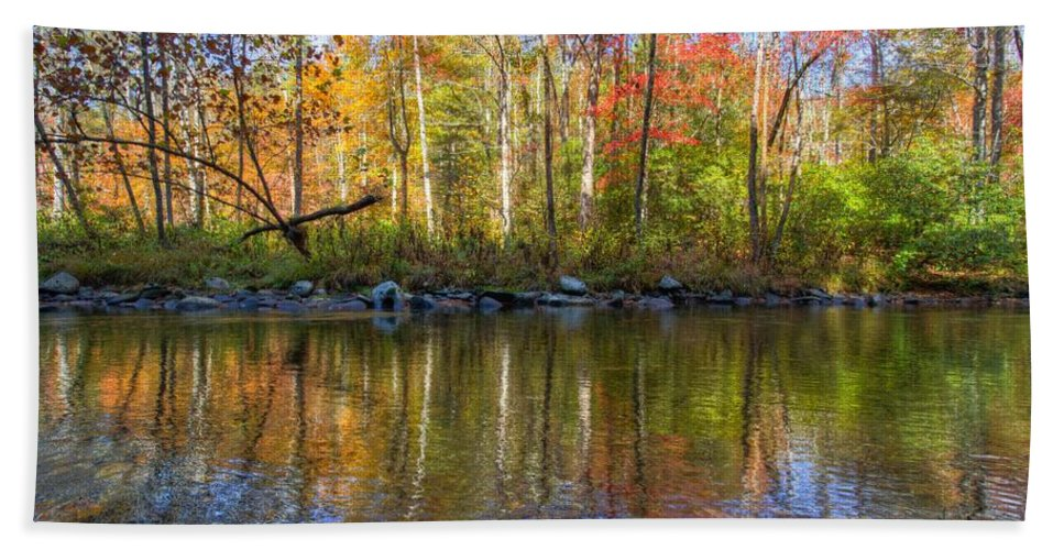 20 Mile Cascade Bath Sheet featuring the photograph Autumn Stream by Debra and Dave Vanderlaan