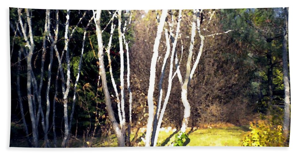 Trees Bath Sheet featuring the painting Autumn Sumacs by Renate Nadi Wesley