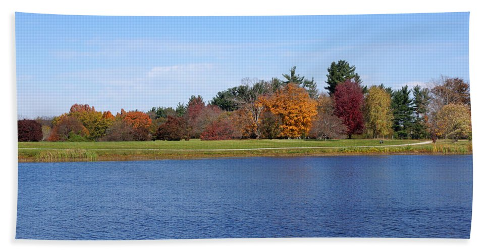 Bernheim Arboretum Hand Towel featuring the photograph Autumn Trees By The Lake by Sandy Keeton