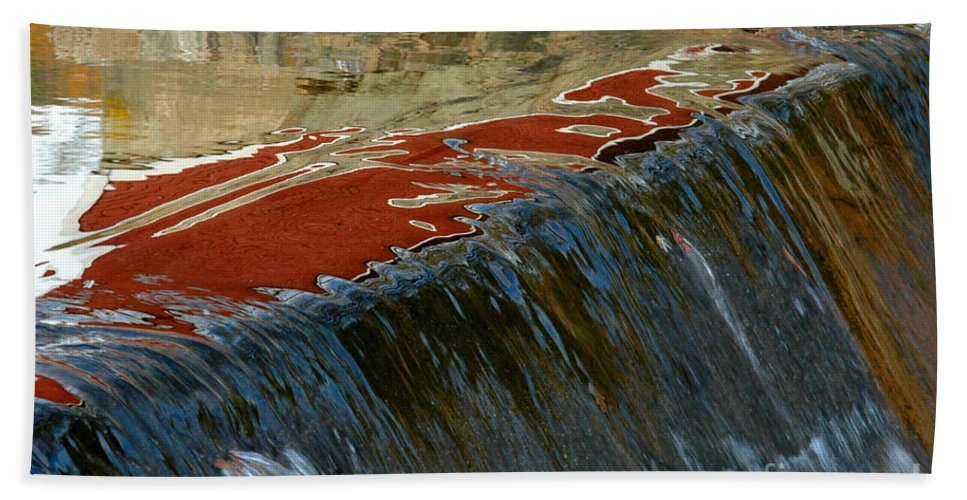 Autumn Bath Sheet featuring the photograph Autumn Waterfall Reflections by Mike Nellums