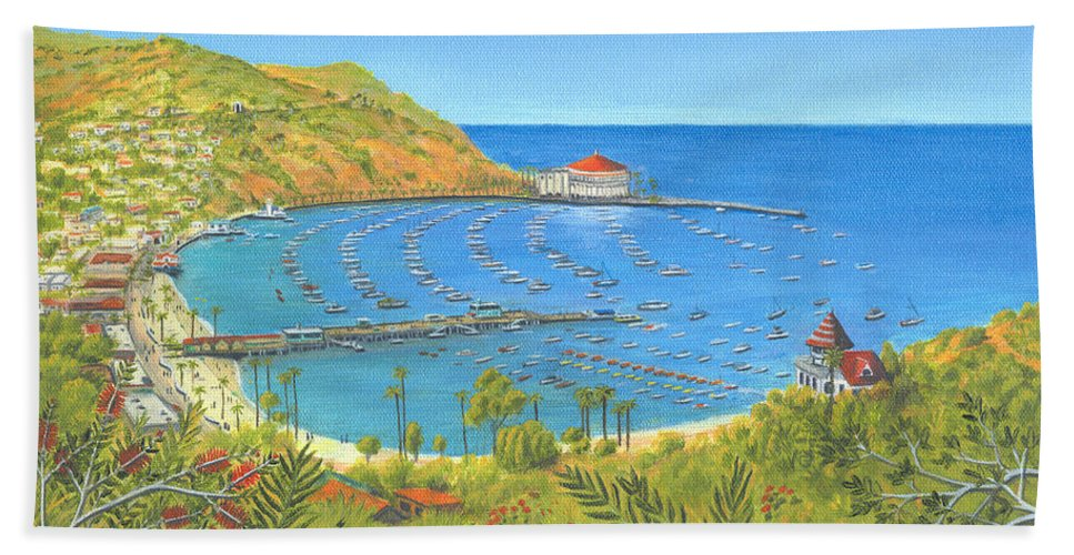 Avalon Hand Towel featuring the painting Avalon Catalina Island by Jerome Stumphauzer