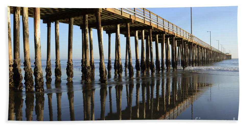 Avila Pier Bath Sheet featuring the photograph Avila Beach Pier California 2 by Bob Christopher