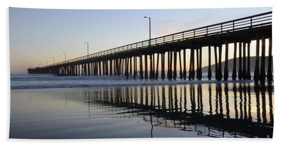 Avila Pier Hand Towel featuring the photograph Avila Beach Pier California 3 by Bob Christopher