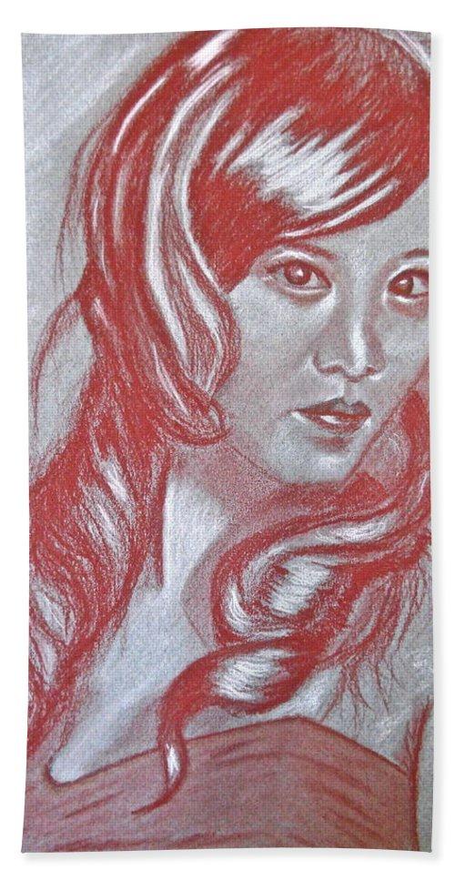 Female Portraits Bath Sheet featuring the pastel Ayuki by Michael Brennan