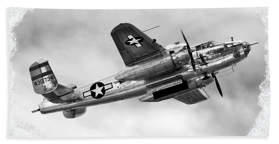 Airshow Hand Towel featuring the photograph B25 In Flight by Greg Fortier