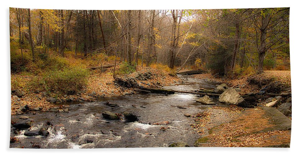 Stream Bath Sheet featuring the photograph Babbling Brook In Autumn by Cathy Kovarik