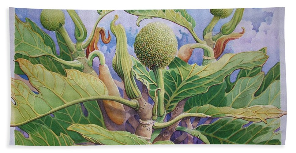 Botanical Painting Hand Towel featuring the painting Baby Breadfruit by Vincent Callagher