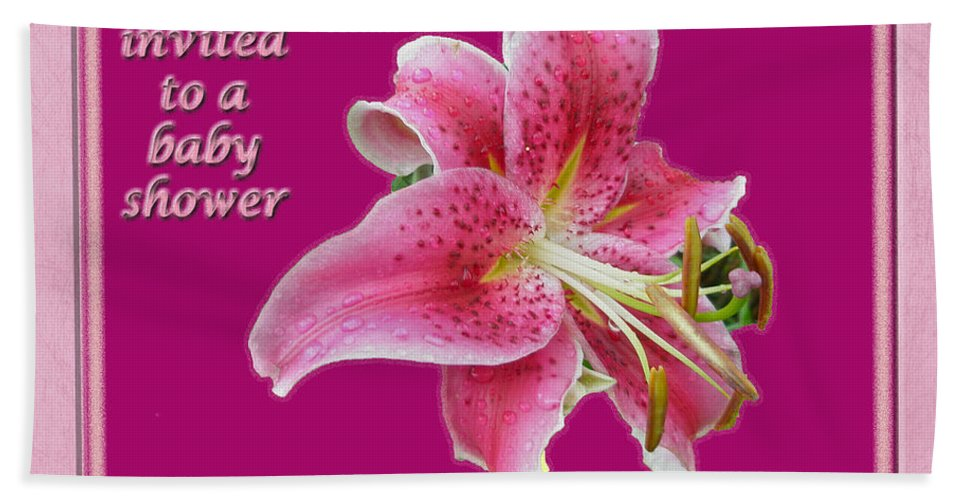 Baby Hand Towel featuring the photograph Baby Shower Invitation - Pink Stargazer Lily by Mother Nature
