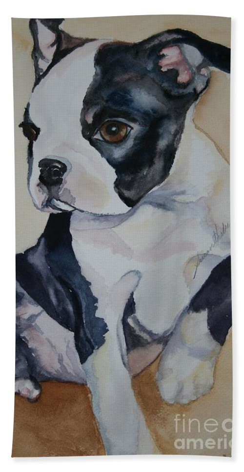 Puppy Bath Sheet featuring the painting Baby by Susan Herber