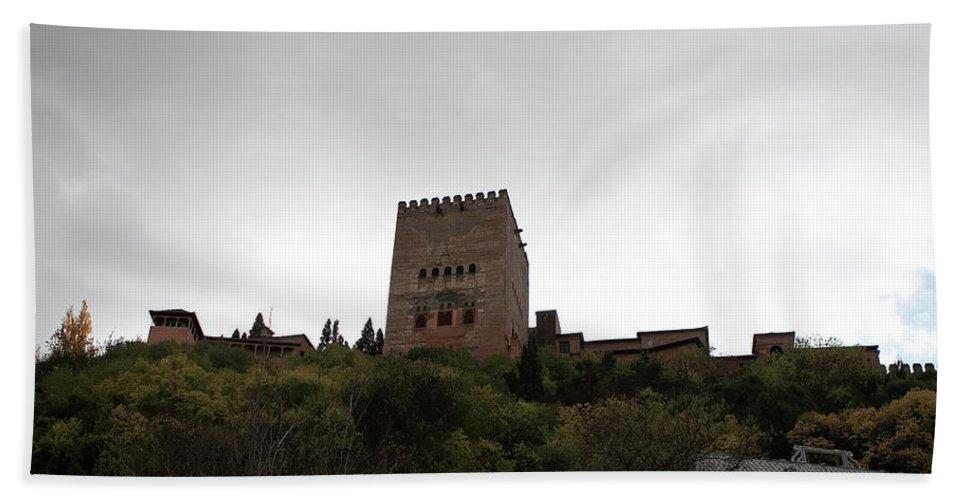 Granada Bath Sheet featuring the photograph Backlit Castle by Lorraine Devon Wilke