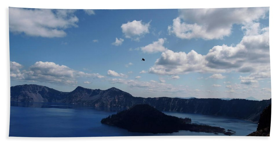Blue Hand Towel featuring the photograph Backside Of Crater Lake by Teri Schuster