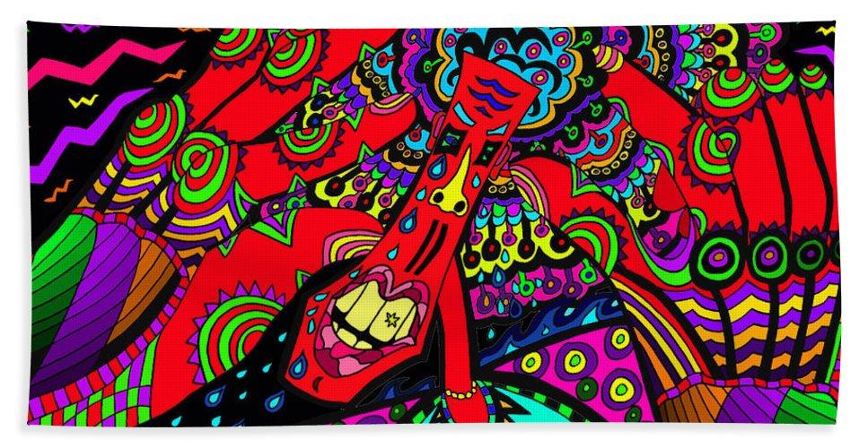 Sore Head Bath Sheet featuring the painting Bad Day - My Brain Is Sore by Karen Elzinga