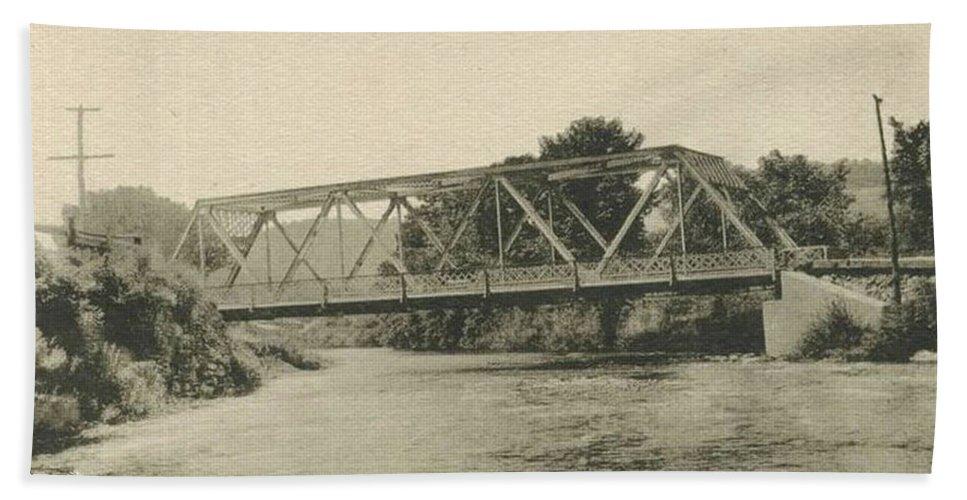 Livingston Manor Bath Sheet featuring the photograph Bailey Bridge Over Willowemoc River by Ericamaxine Price