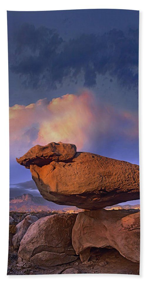 Mp Bath Towel featuring the photograph Balancing Rock Formation, Guadalupe by Tim Fitzharris