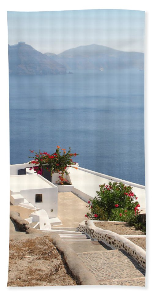 Oia Bath Sheet featuring the photograph Balcony Oia Santorini Greek Islands by Carole-Anne Fooks