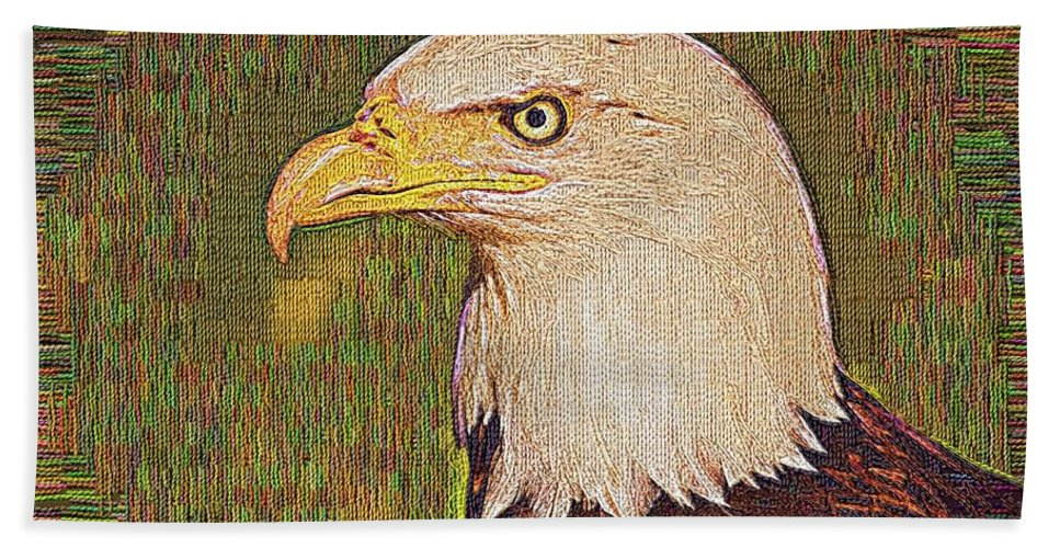 Bald Eagle Hand Towel featuring the photograph Bald Eagle Embroidered by Chris Thaxter