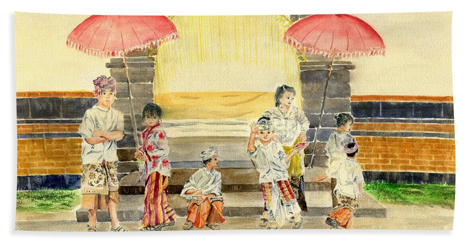 Balinese Children Bath Sheet featuring the painting Balinese Children In Traditional Clothing by Melly Terpening