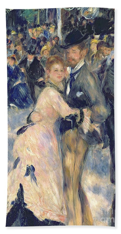 Dancing; Cafe; Boater; Hat; Evening; Society; Drinking; Impressionist; Montmartre Chandelier; Straw; Bal Du Bath Sheet featuring the painting Ball At The Moulin De La Galette by Pierre Auguste Renoir