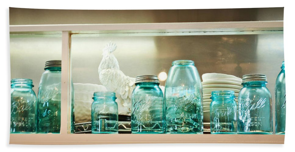 Blue Hand Towel featuring the photograph Ball Jars And White Rooster by Paulette B Wright