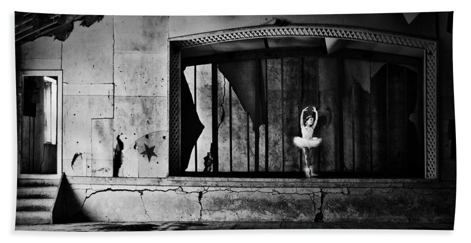 Street Photographer Bath Sheet featuring the photograph Ballerinas Ballad by The Artist Project