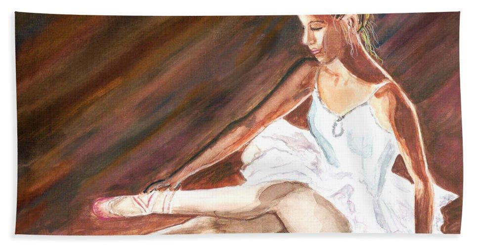 Dancer Bath Sheet featuring the painting Ballet Dancer by Clara Sue Beym