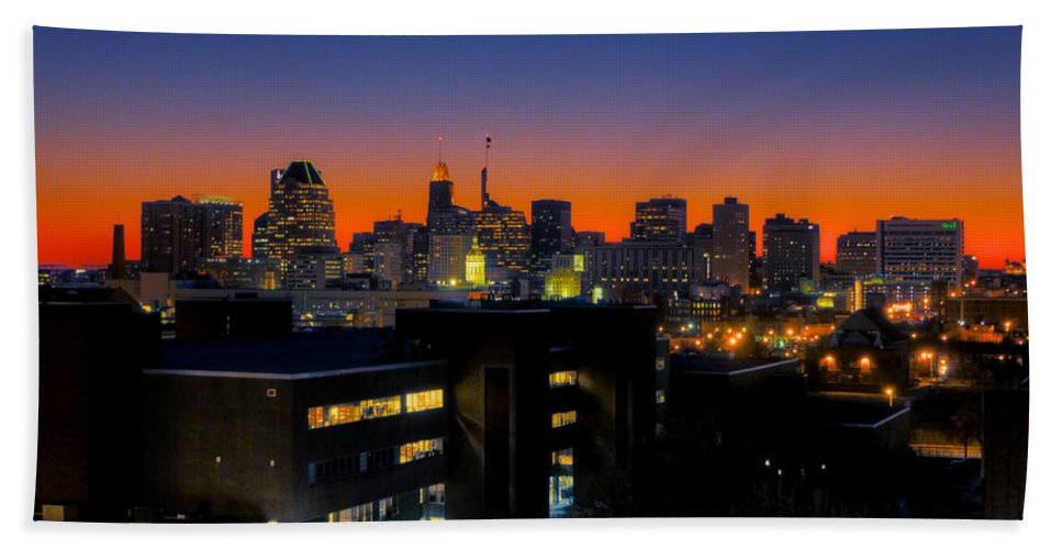 Hdr Photograph Bath Sheet featuring the photograph Baltimore At Sunset by Mark Dodd