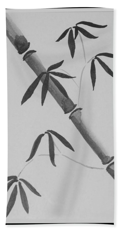 Bamboo Art Hand Towel featuring the photograph Bamboo Art In Black And White by Rob Hans