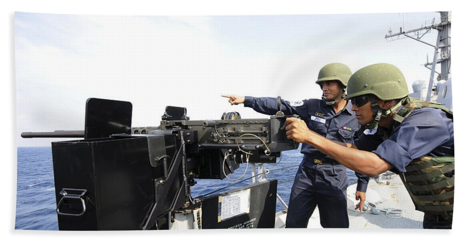 Weapon Hand Towel featuring the photograph Bangladesh Navy Sailors Fire by Stocktrek Images