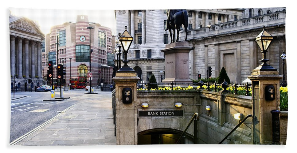 London Hand Towel featuring the photograph Bank Station Entrance In London by Elena Elisseeva