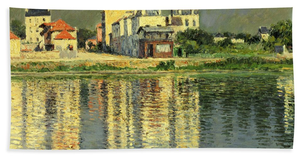 Bord De La Seine A Argenteuil Bath Towel featuring the painting Banks Of The Seine At Argenteuil by Gustave Caillebotte